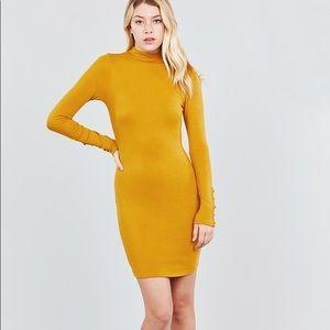 Dresses & Skirts - Long Sleeve W/button Detail High Neck Knit Mini